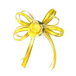(RF27) Decoration Flower Brooch Yellow - 1 Pcs