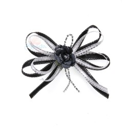 (RF19) Decoration Flower Brooch Black - 1 Pcs