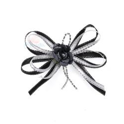 (RF19) Decoration Flower Brooch Black - 1 Pcs