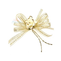 (RF19) Decoration Flower Brooch Cream - 1 Pcs