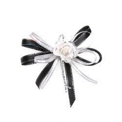 (RF19) Decoration Flower Brooch Cream Black - 1 Pcs