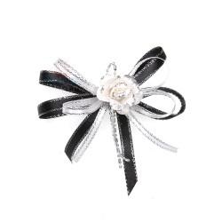 (RF19) Decoration Flower Brooch Cream Black - 1 Pcs