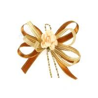 (RF19) Decoration Flower Brooch Cream Brown - 1 Pcs