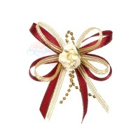 (RF19) Decoration Flower Brooch Cream Maroon - 1 Pcs