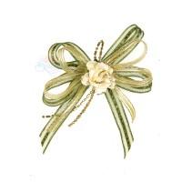 (RF19) Decoration Flower Brooch Cream Olive Green - 1 Pcs