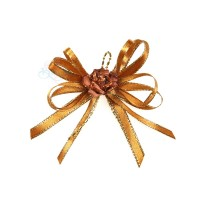 (RF19) Decoration Flower Brooch Gold Brown - 1 Pcs