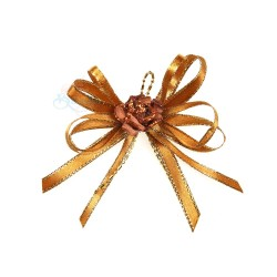 (RF19) Decoration Flower Brooch Gold Brown - 1 Pcs