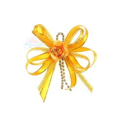 (RF19) Decoration Flower Brooch Gold Orange - 1 Pcs