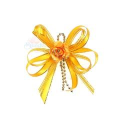 (RF19) Decoration Flower Brooch Gold Orange - 1 Pcs