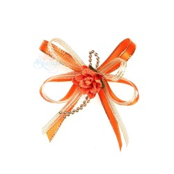 (RF19) Decoration Flower Brooch Orange - 1 Pcs