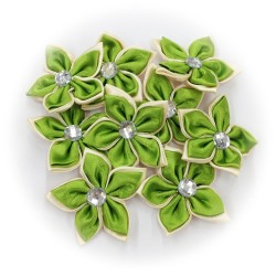 Satin Flower Stone Olive Green #528 - 6pcs