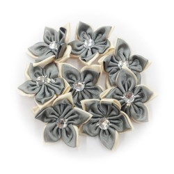 Satin Flower Stone Grey #577 - 6pcs