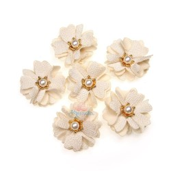 (#1024) Senorita Fabric Flower with Pearl - Beige