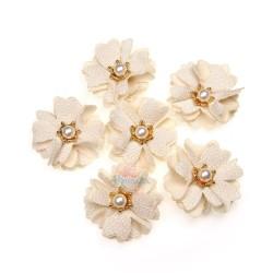 (#1024) Senorita Fabric Flower with Pearl - Beige