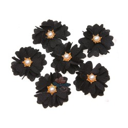 (#1024) Senorita Fabric Flower with Pearl - Black