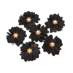 (#1024) Senorita Fabric Flower with Pearl - Black