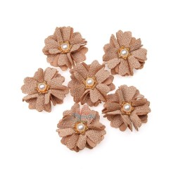 (#1024) Senorita Fabric Flower with Pearl - Cappuccino