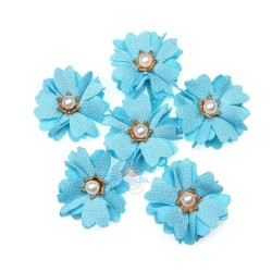 (#1024) Senorita Fabric Flower with Pearl - Cloud Blue