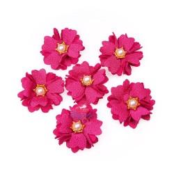 (#1024) Senorita Fabric Flower with Pearl - Crimson Pink