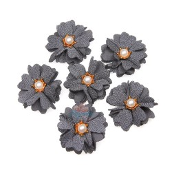 (#1024) Senorita Fabric Flower with Pearl - Grey