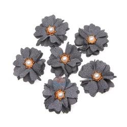 (#1024) Senorita Fabric Flower with Pearl - Grey