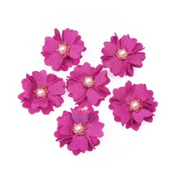 (#1024) Senorita Fabric Flower with Pearl - Magenta