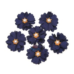 (#1024) Senorita Fabric Flower with Pearl - Navy Blue