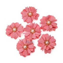 (#1024) Senorita Fabric Flower with Pearl - Peach