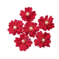 (#1024) Senorita Fabric Flower with Pearl - Red