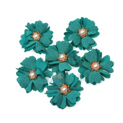 (#1024) Senorita Fabric Flower with Pearl - Teal Green