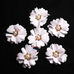 (#1024) Senorita Fabric Flower with Pearl - White