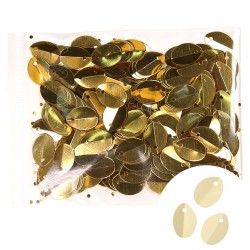 Shining Folded Sequin Oval 9mmx13mm Dark Gold - 1 Pack