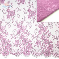 "#5001 French Lace Fabric Wide 60"" Dusty Magenta - 3 Meters"
