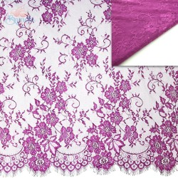 #5001 French Lace Fabric Wide 60 inchDeep Magenta - 3 Meters
