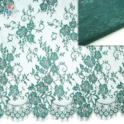#5001 French Lace Fabric Wide 60 inchEmerald Green - 3 Meters