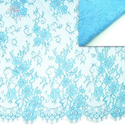 #5001 French Lace Fabric Wide 60 inchSky Blue - 3 Meters