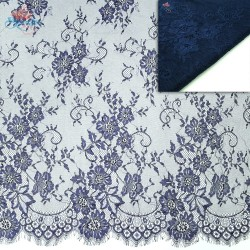#5001 French Lace Fabric Wide 60 inchNavy Blue - 3 Meters