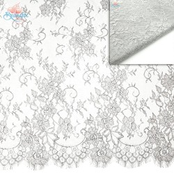 #5001 French Lace Fabric Wide 60 inchLight Grey - 3 Meters