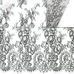 #4988 French Lace Fabric Wide 60 inchBlack - 3 Meters