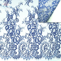 #4988 French Lace Fabric Wide 60 inchBlue - 3 Meters