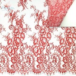 #4988 French Lace Fabric Wide 60 inchRed - 3 Meters