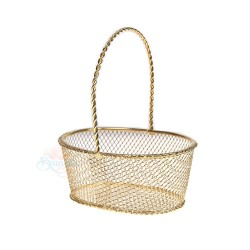 Small Oval Iron Gift Basket Gold - 12pcs