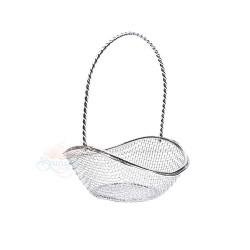 Small Curved Oval Iron Gift Basket Silver - 12pcs
