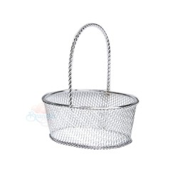 Small Oval Iron Gift Basket Silver - 12pcs