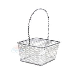 Small Rectangle Iron Gift Basket Silver - 12pcs