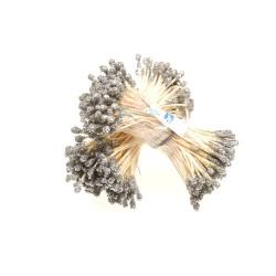 H100G Glitter Stigma Flower Inti Bunga Silver - 1 Bunch
