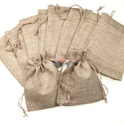 Small Cotton Linen Pouch Natural (9.5cm x 11.5cm) - 10pcs