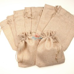 Medium Cotton Linen Pouch Cream (13.5cm x 19.5cm) - 10pcs