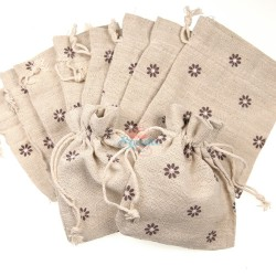 Small Flower Cotton Linen Pouch Natural (9.5cm x 11.5cm) - 10pcs