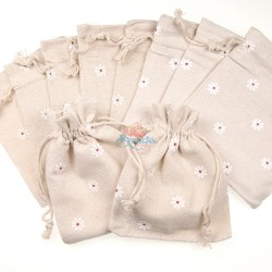Small Flower Cotton Linen Pouch Cream (9.5cm x 11.5cm) - 10pcs